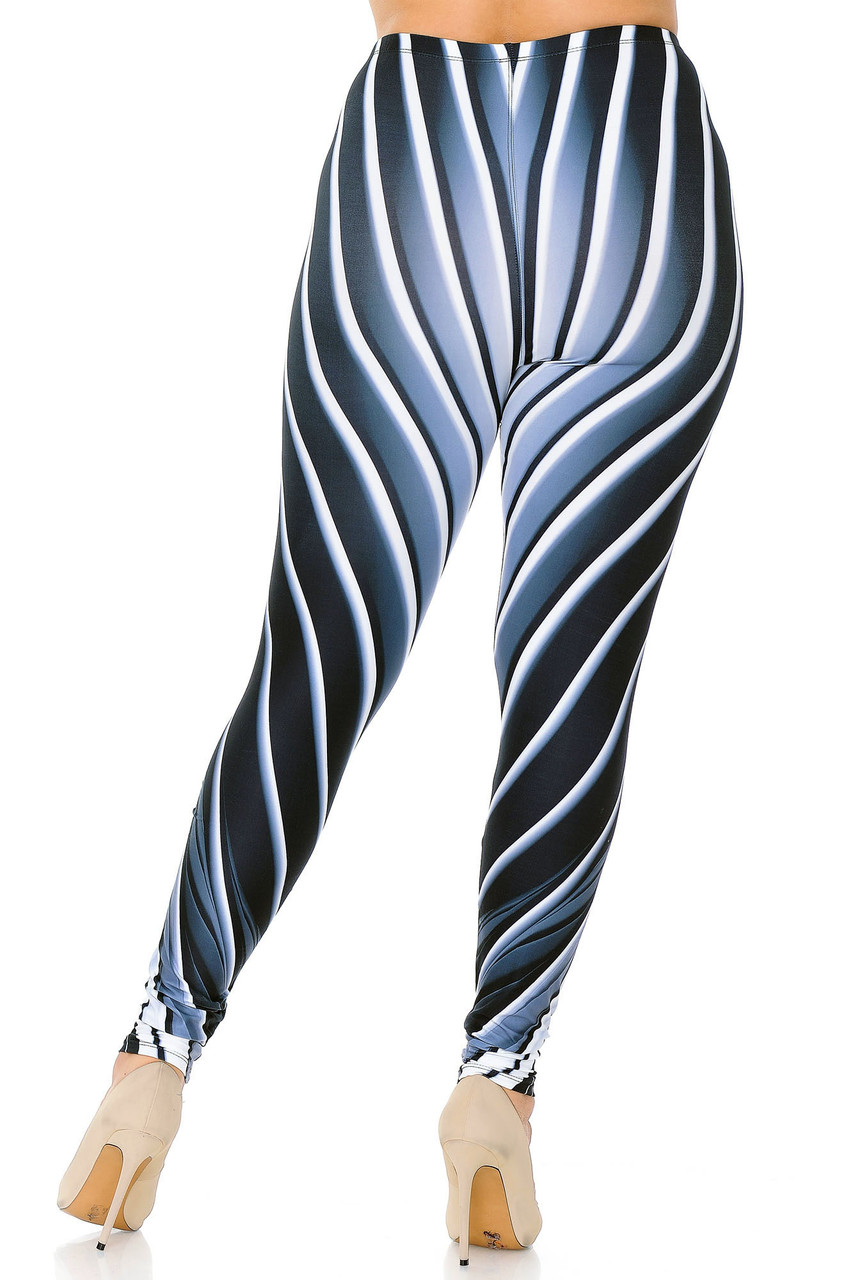 Rear view image of Creamy Soft Contour Body Lines Plus Size Leggings  - USA Fashion™ with a flattering design and body-hugging cut that work together to create a stunning look and fit.