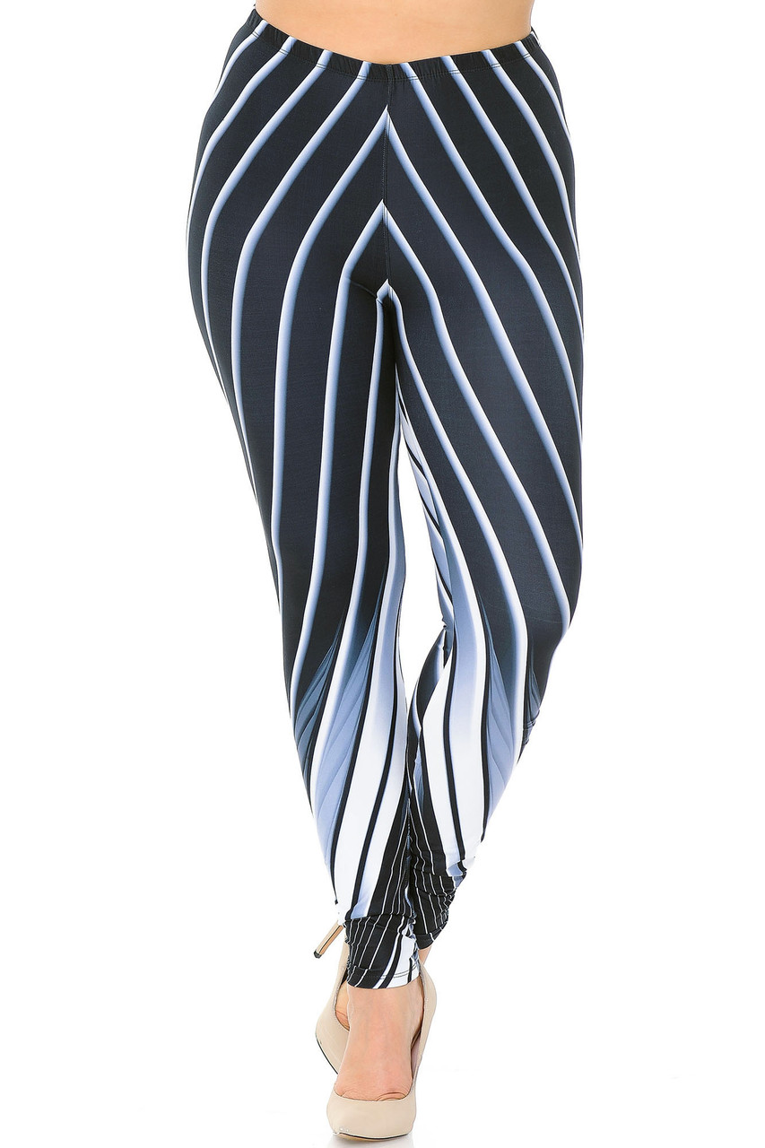 Front view of our mid rise Creamy Soft Contour Body Lines Plus Size Leggings  - USA Fashion™ with an elastic waistband.
