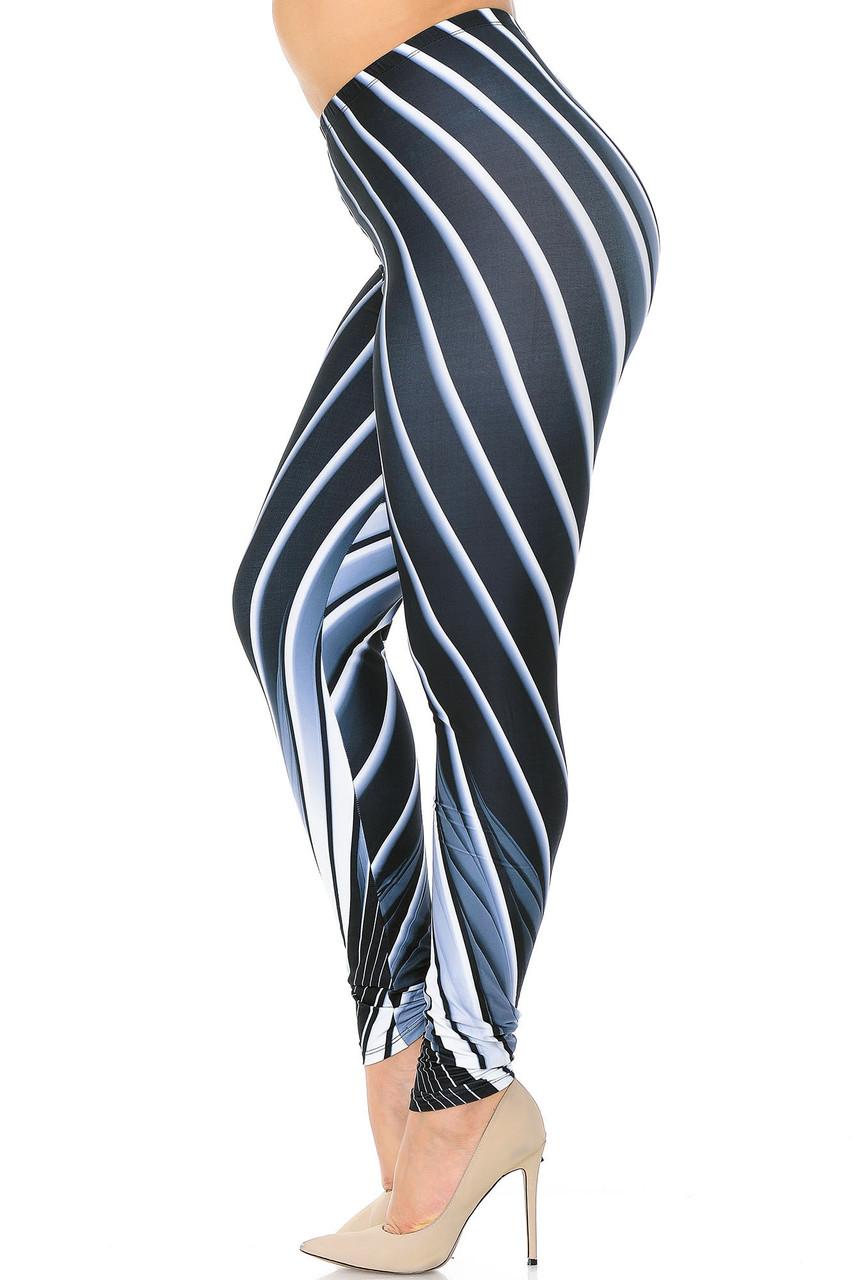 Left side view of Creamy Soft Contour Body Lines Plus Size Leggings - USA Fashion™