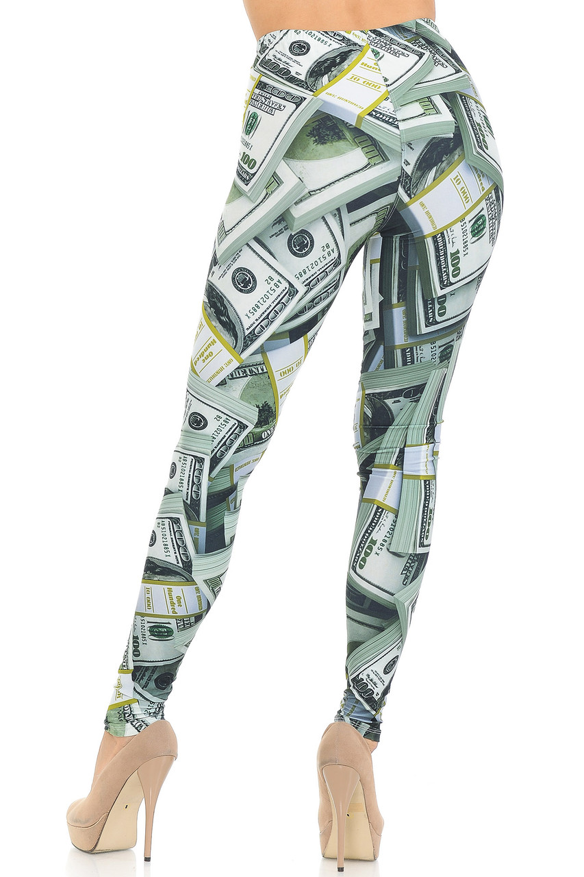 Rear view image of Creamy Soft Cash Money Extra Small Leggings - USA Fashion™  featuring a flattering body-hugging fit.