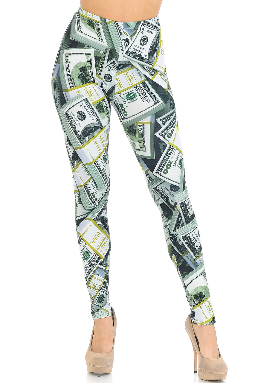 Front view of our Creamy Soft Cash Money Extra Small Leggings - USA Fashion™ featuring a sassy head turning look, even when paired with a simple white fitted tee.