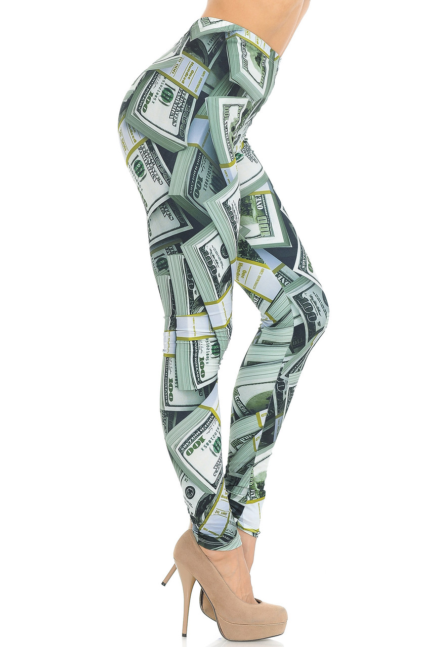 Right side view of Creamy Soft Cash Money Extra Small Leggings - USA Fashion™