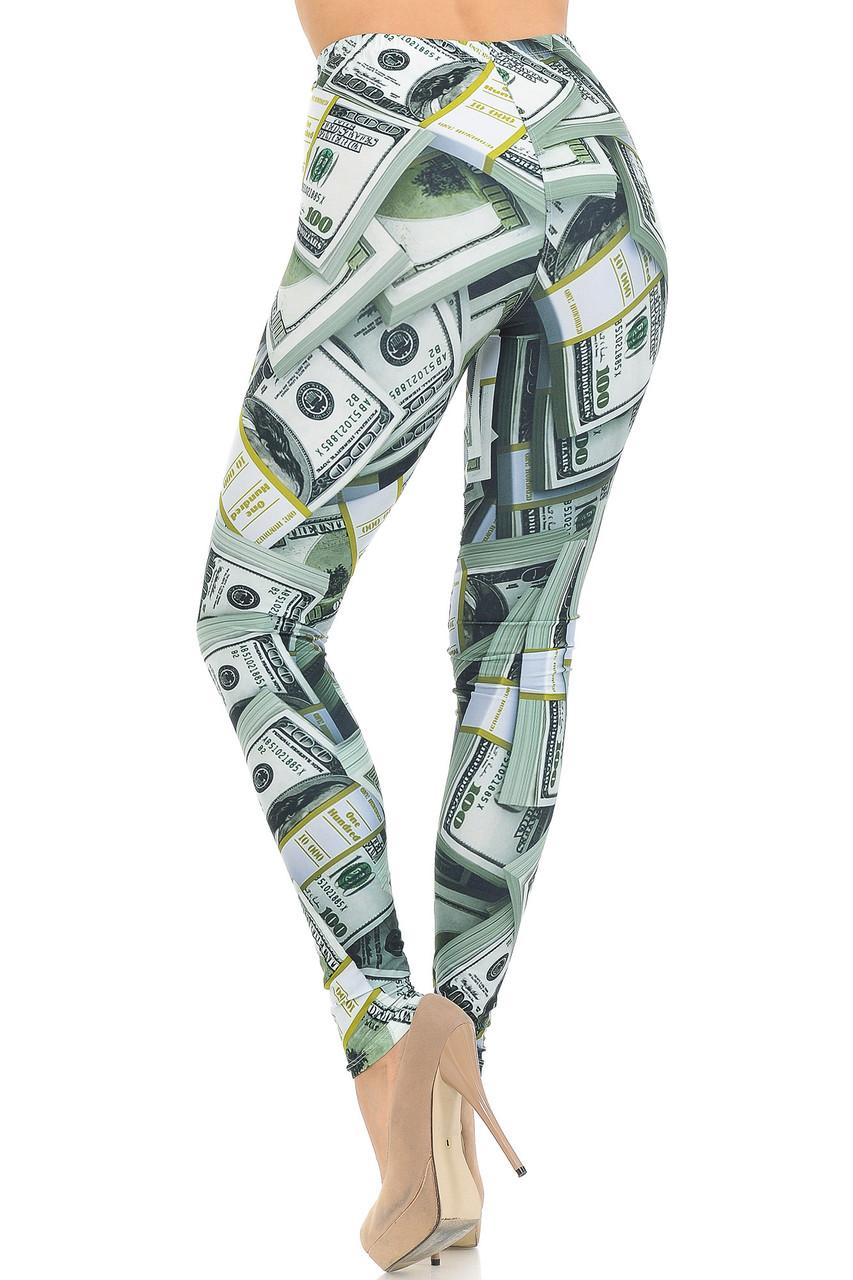 Back view of Creamy Soft Cash Money Extra Small Leggings - USA Fashion™