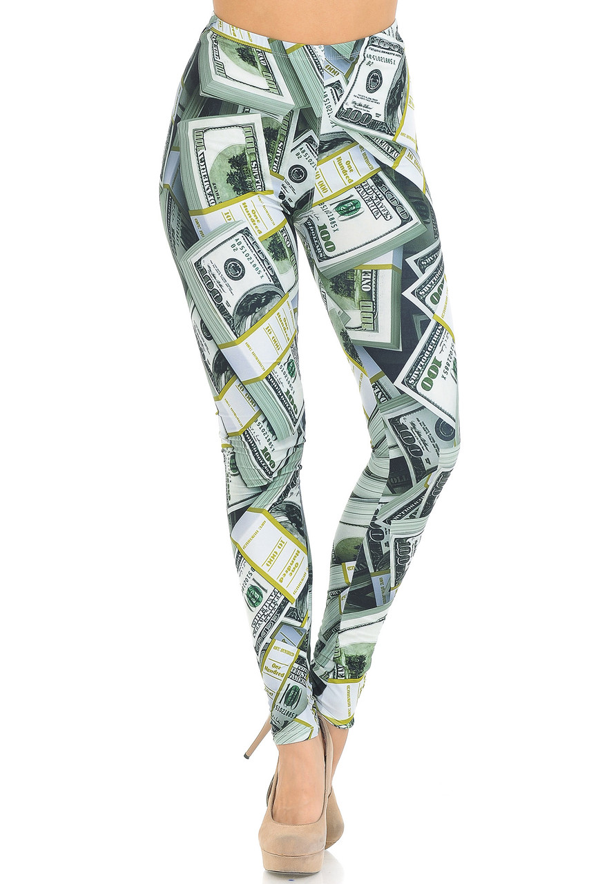 Front view of Creamy Soft Cash Money Extra Small Leggings - USA Fashion™ with an elastic waist that comes up to about mid rise.