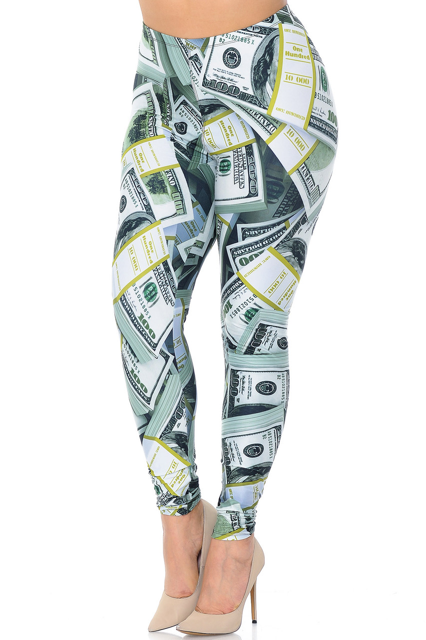 Front view of our Creamy Soft Cash Money Plus Size Leggings - USA Fashion™ with a vivid all over print that features stack of one hundred dollar bills.