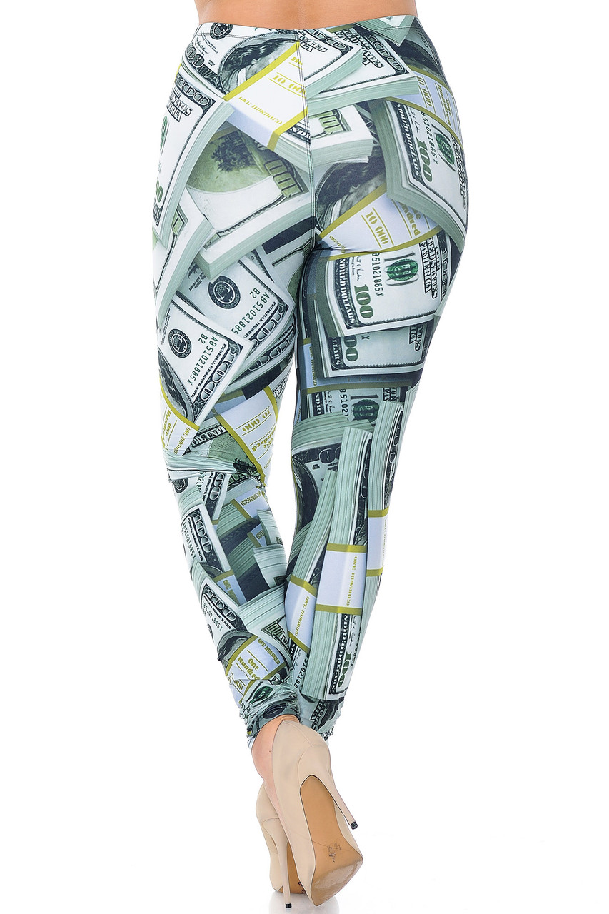 Rear view image of Creamy Soft Cash Money Plus Size Leggings - USA Fashion™ featuring a flattering body-hugging fit.