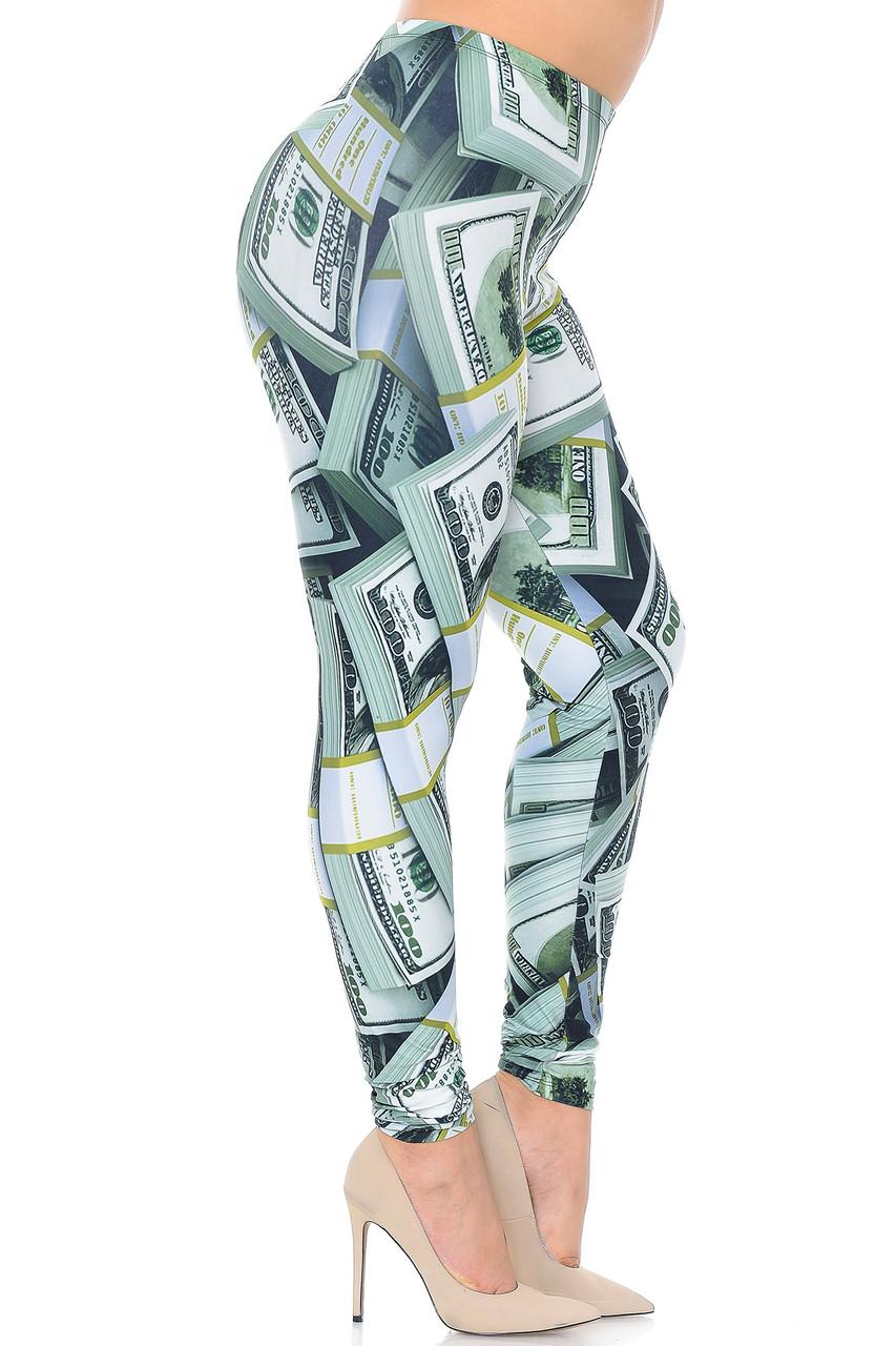 Right side view of Creamy Soft Cash Money Plus Size Leggings - USA Fashion™