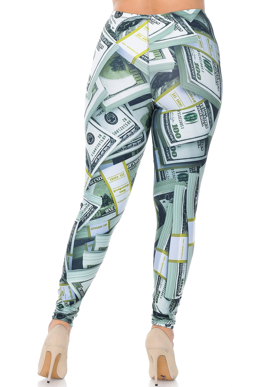 Rear view image of Creamy Soft Cash Money Extra Plus Size Leggings - 3X-5X - USA Fashion™ featuring a flattering body-hugging fit.