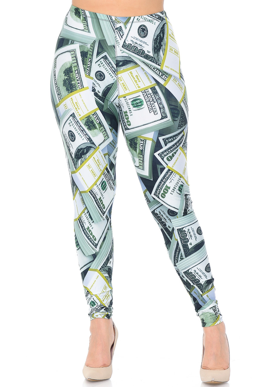 Front view of our Creamy Soft Cash Money Extra Plus Size Leggings - 3X-5X - USA Fashion™ featuring a sassy head turning look, even when paired with a simple white fitted tee.