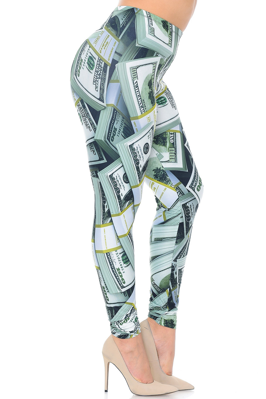 Right side view of Creamy Soft Cash Money Extra Plus Size Leggings - 3X-5X - USA Fashion™