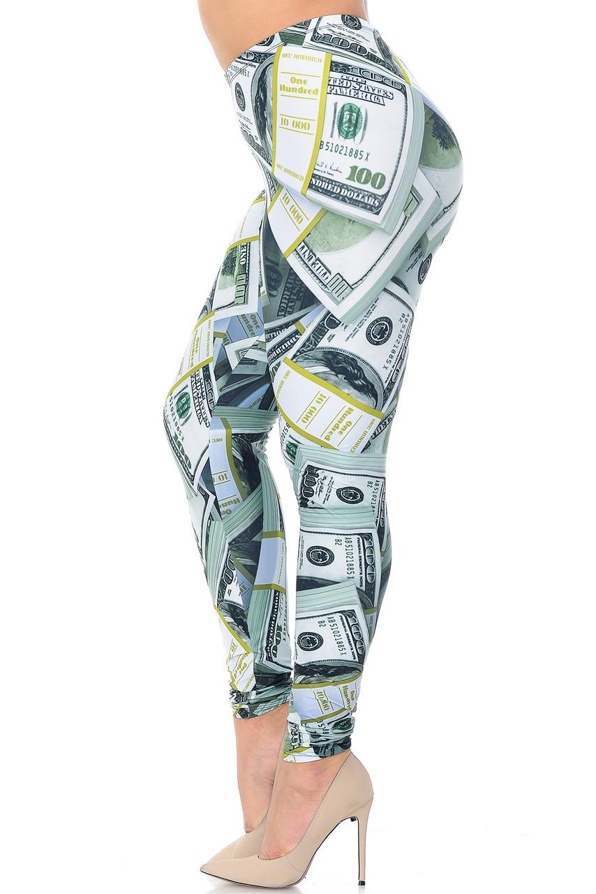 Left side view of Creamy Soft Cash Money Extra Plus Size Leggings - 3X-5X - USA Fashion™