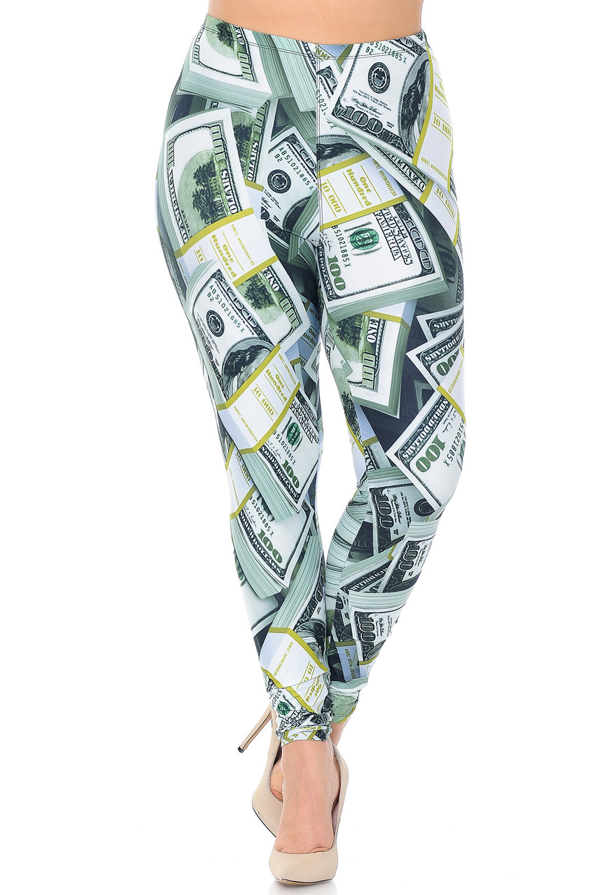 Front view of Creamy Soft Cash Money Extra Plus Size Leggings - 3X-5X - USA Fashion™ with an elastic waist that comes up to about mid rise.
