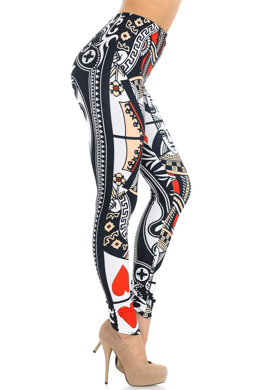 Right side view of Creamy Soft Queen of Hearts Extra Small Leggings - USA Fashion™
