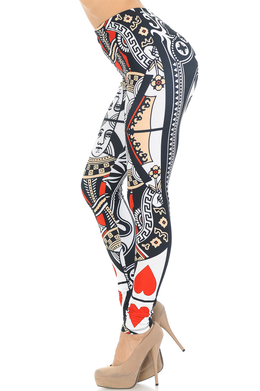 Left side view of Creamy Soft Queen of Hearts Extra Small Leggings - USA Fashion™