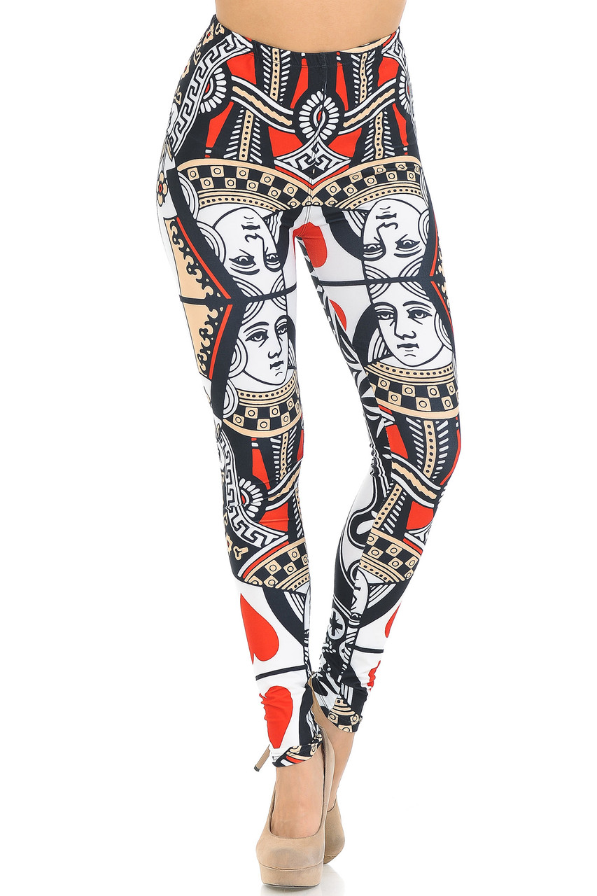 Front view of our Creamy Soft Queen of Hearts Leggings - USA Fashion™ with an elastic waistband that come sup to about mid rise.