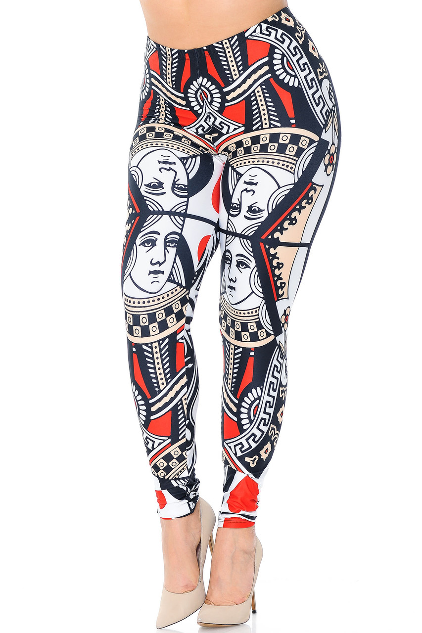 Front view of our fun and sassy Creamy Soft Queen of Hearts Plus Size Leggings with an amazing eye-catching  playing card design.