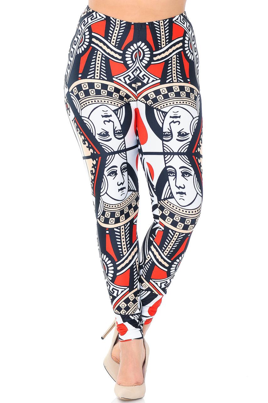 Front view of our Creamy Soft Queen of Hearts Plus Size Leggings - USA Fashion™ with an elastic waistband that come sup to about mid rise.