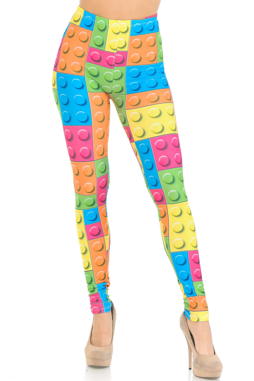 Front view image of our mid rise Creamy Soft Lego Leggings - USA Fashion™ with an elasticized waistband.