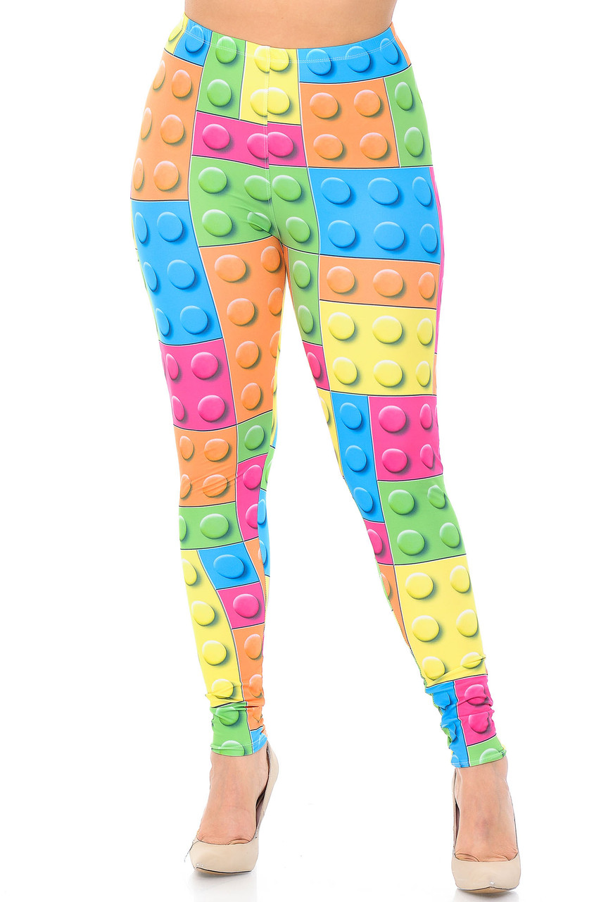 Front view image of our mid rise Creamy Soft Lego Plus Size Leggings - USA Fashion™ with an elasticized waistband.