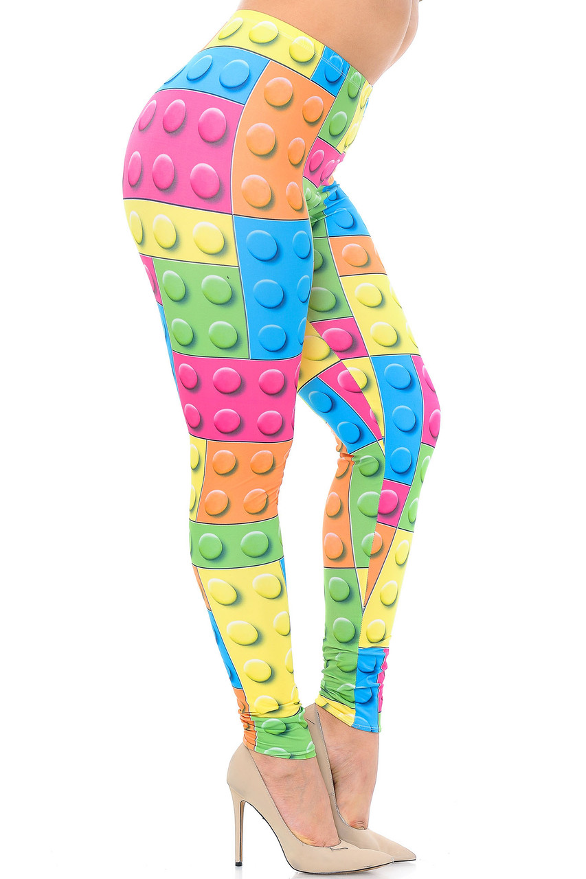 Right side view image of Creamy Soft Lego Plus Size Leggings - USA Fashion™