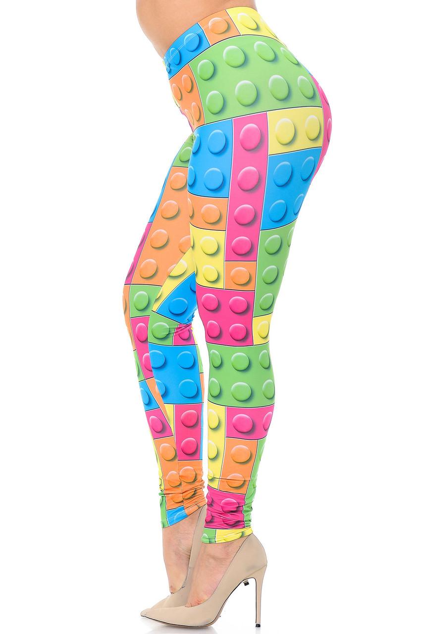 Left side view image of Creamy Soft Lego Plus Size Leggings - USA Fashion™