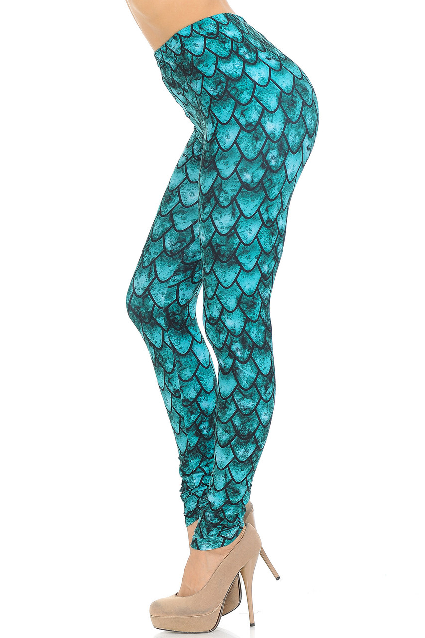 Left side view image of Creamy Soft Green Dragon Extra Small Leggings - USA Fashion™