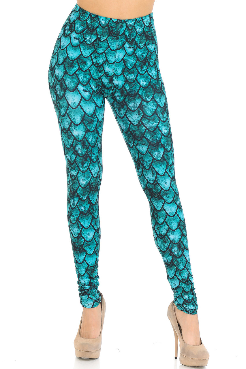 Front view of Creamy Soft Green Dragon Leggings - USA Fashion™ showing a mid rise elastic waistband.