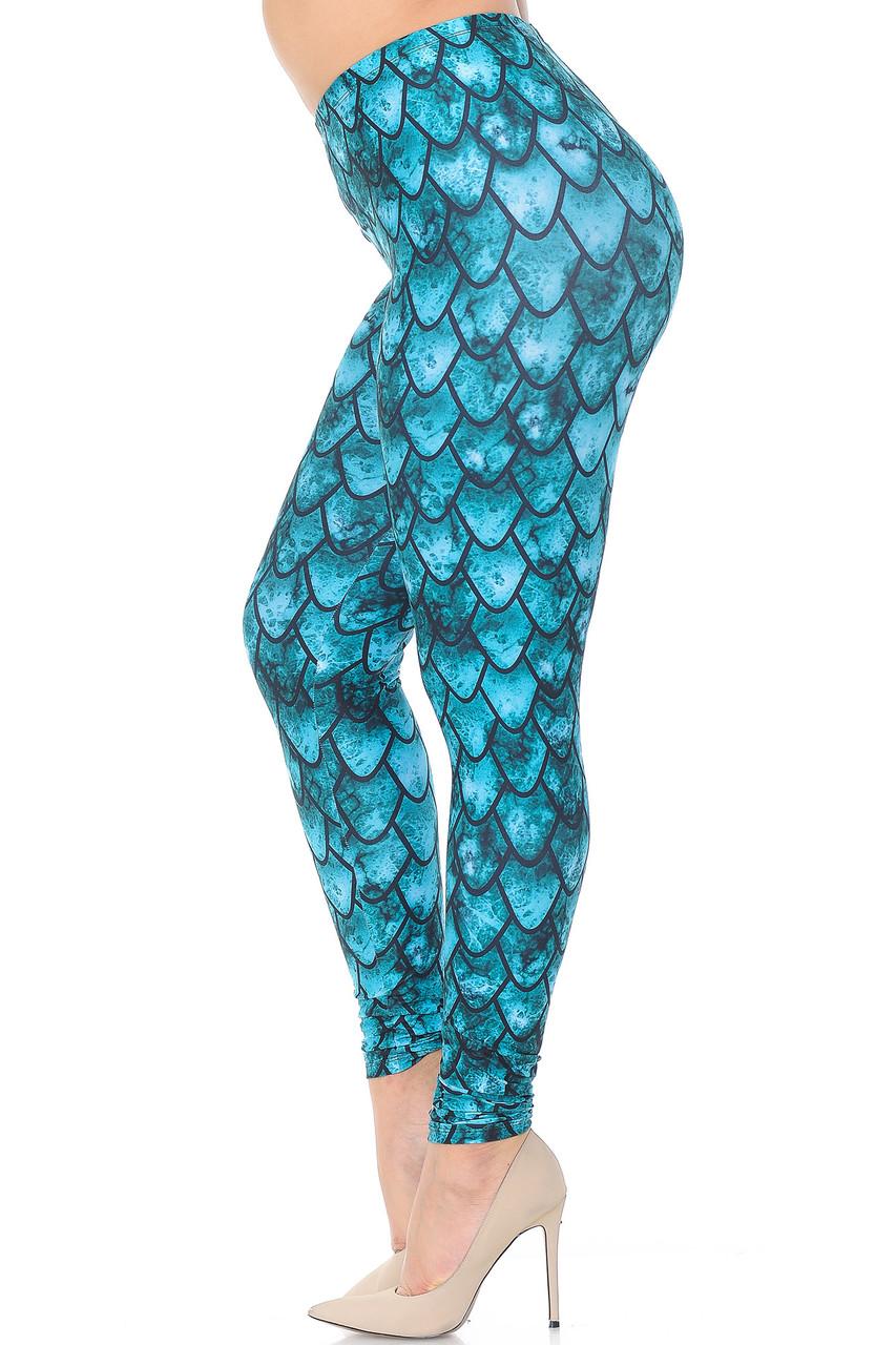 Left side view image of Creamy Soft Green Dragon Plus Size Leggings - USA Fashion™