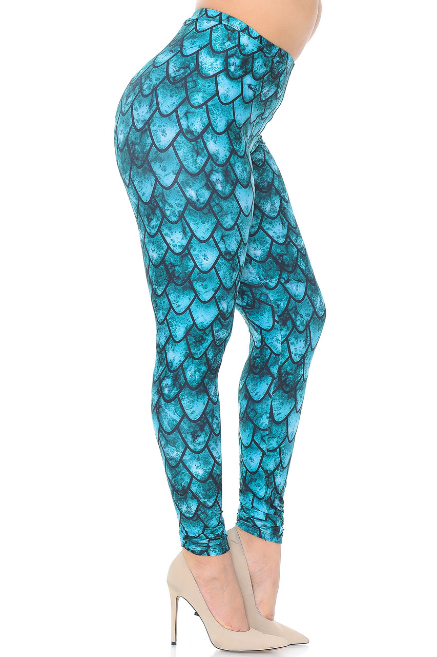 Right side view image of Creamy Soft Green Dragon Extra Plus Size Leggings - 3X-5X - USA Fashion™
