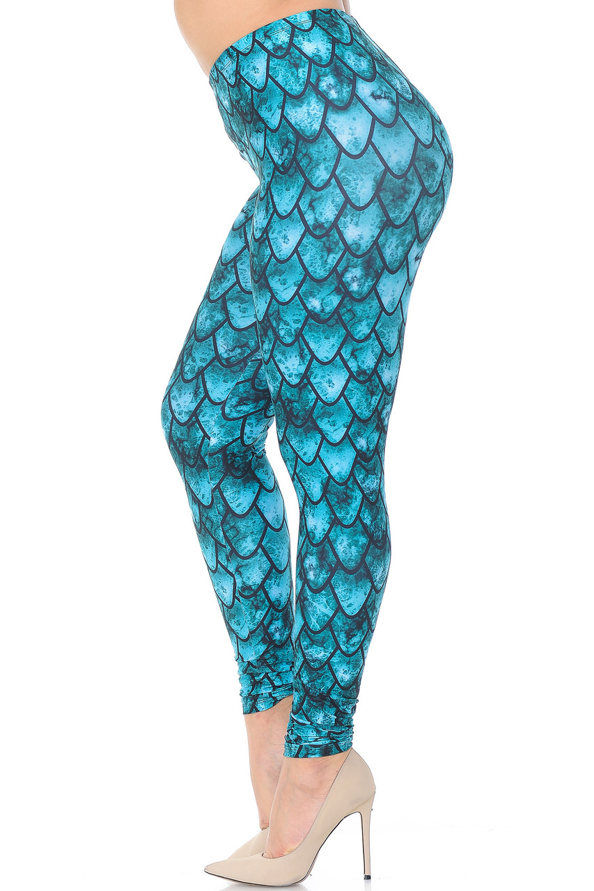 Left side view image of Creamy Soft Green Dragon Extra Plus Size Leggings - 3X-5X - USA Fashion™