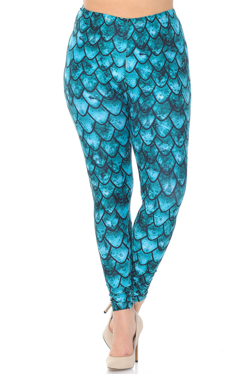 Front view of Creamy Soft Green Dragon Extra Plus Size Leggings - 3X-5X - USA Fashion™ with a full length skinny leg cut.