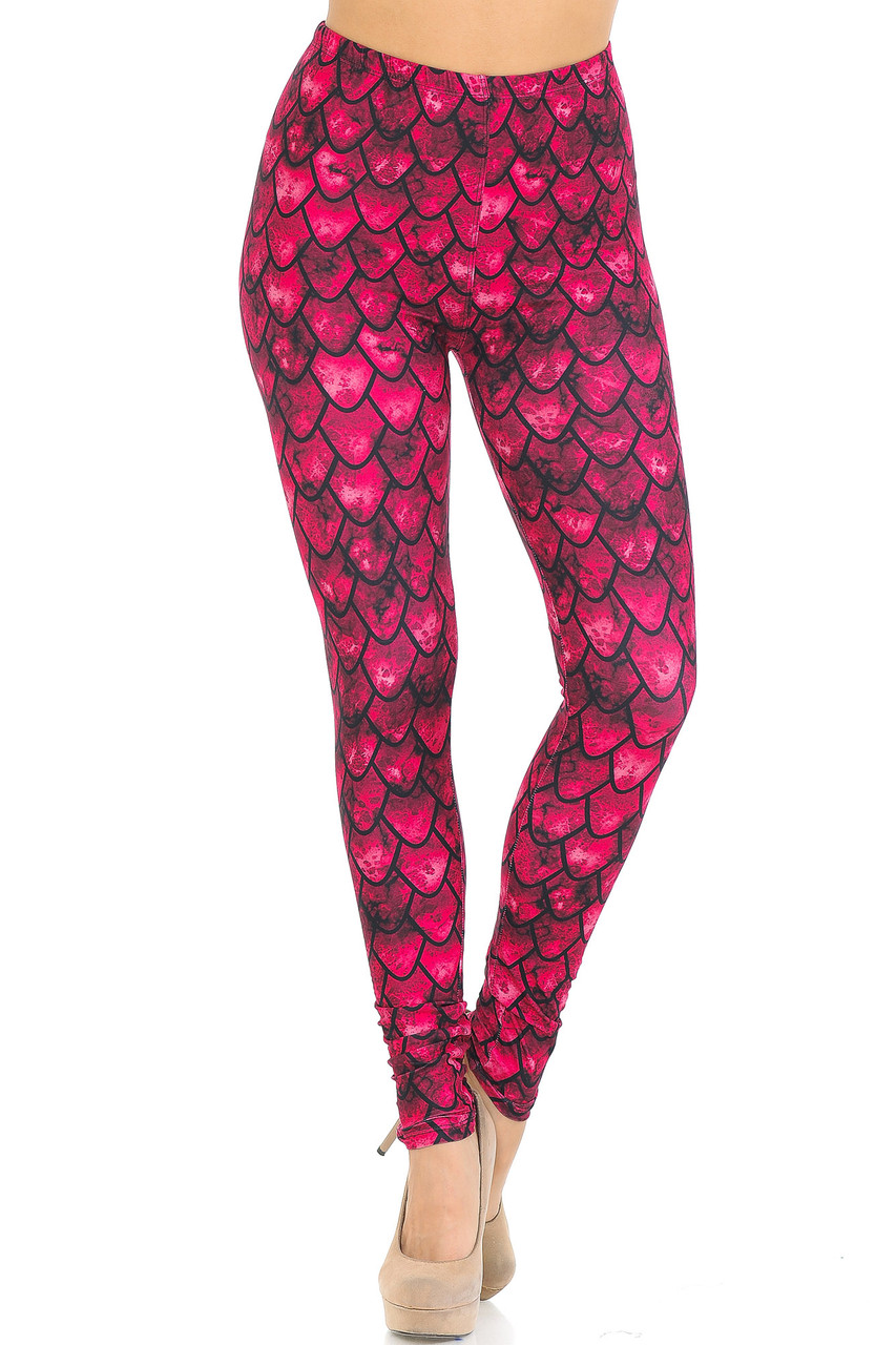 Front view of Creamy Soft Red Scale Extra Small Leggings - USA Fashion™ with a full length skinny leg cut.