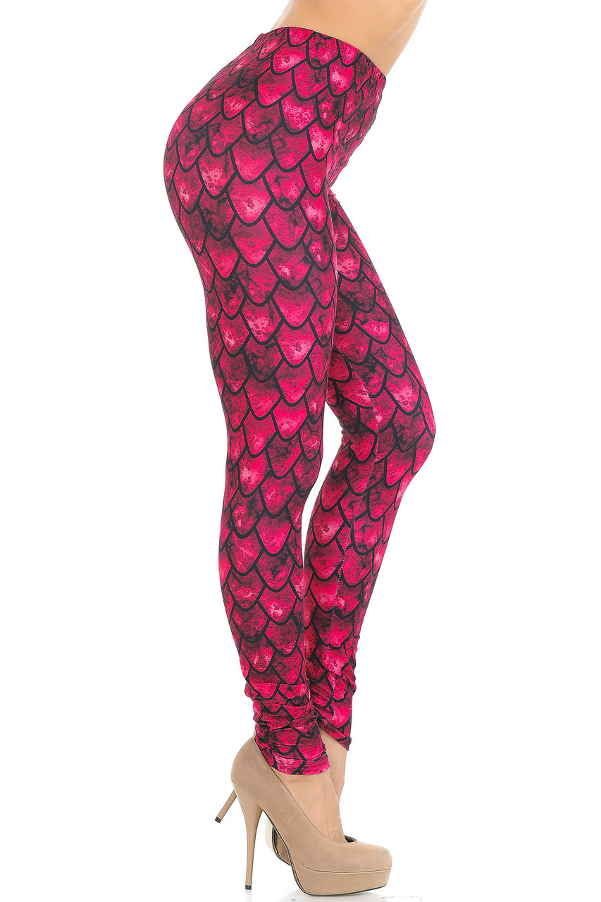 Right side view image of Creamy Soft Red Scale Leggings - USA Fashion™