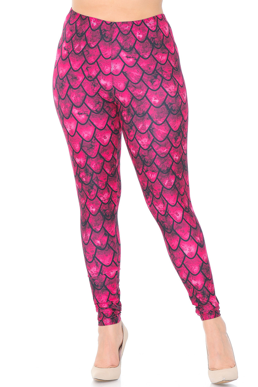 Front view of mid rise Creamy Soft Red Scale Plus Size Leggings - USA Fashion™ with an elastic waistband.