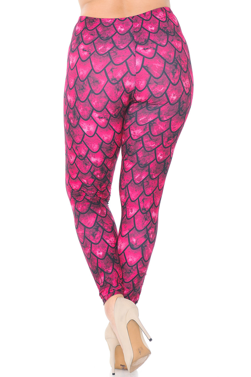 Rear view image of Creamy Soft Red Scale Plus Size Leggings  - USA Fashion™ showing the continued 360 degree print.