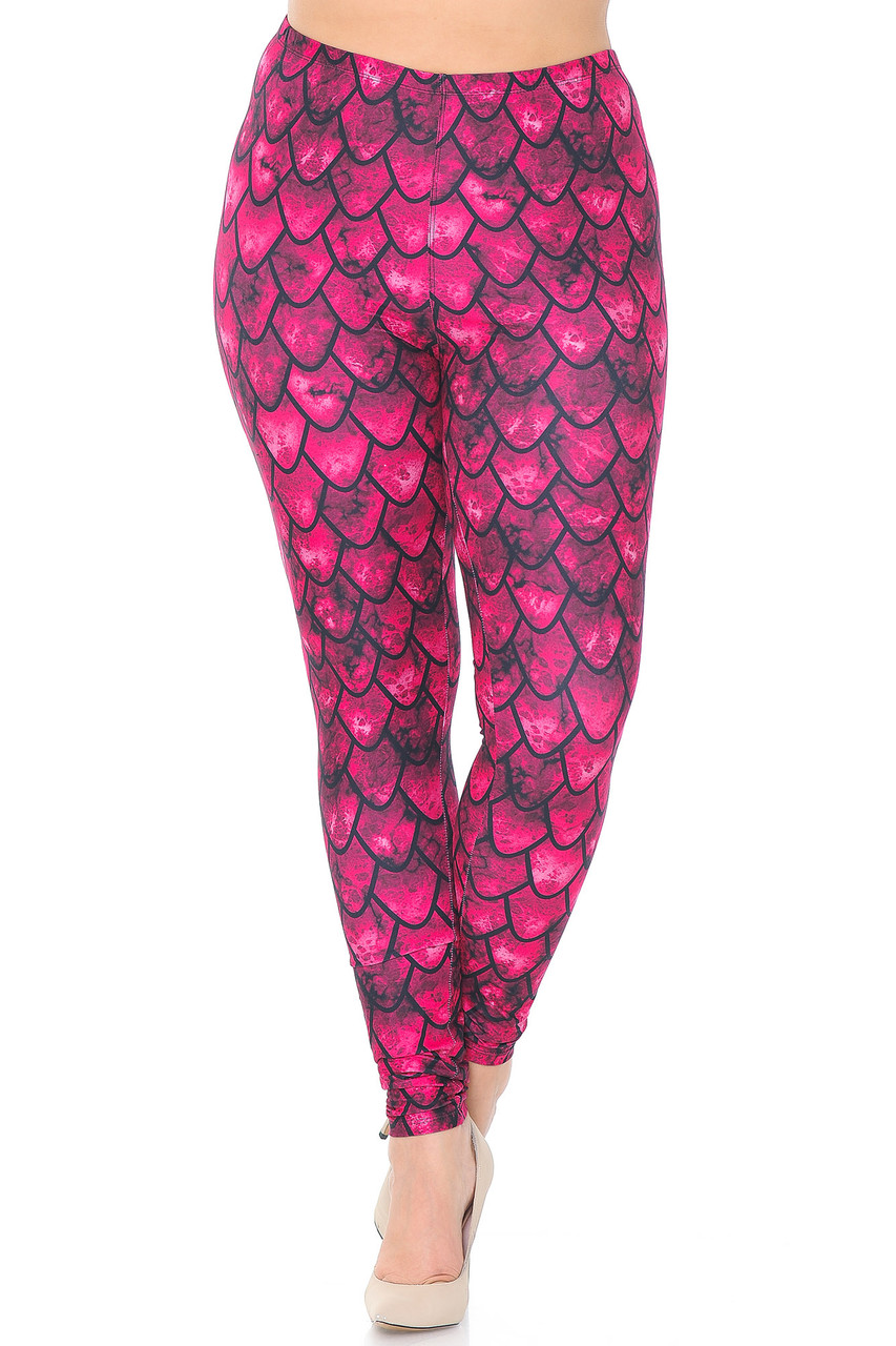 Front view of Creamy Soft Red Scale Plus Size Leggings - USA Fashion™ with a full length skinny leg cut.