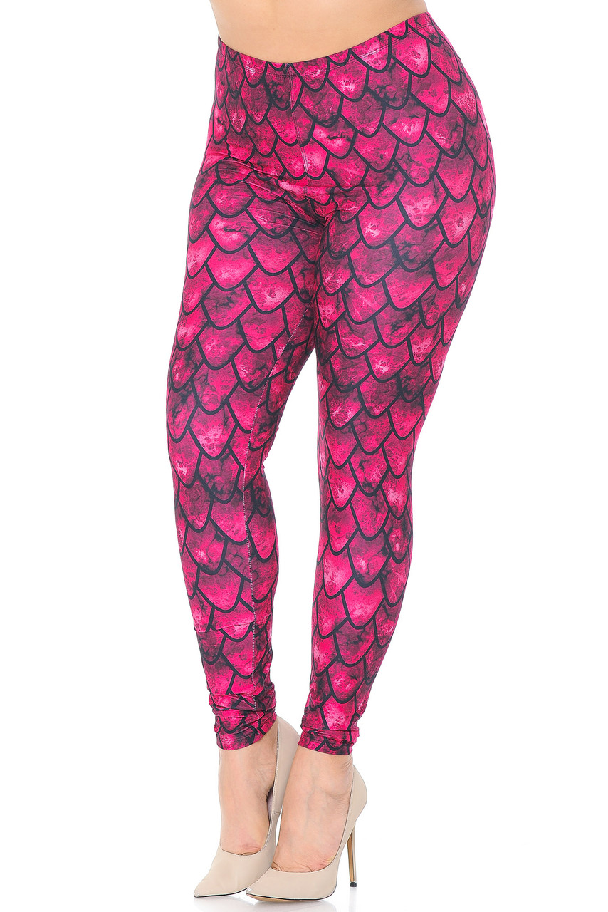 Front view of our Creamy Soft Red Scale Extra Plus Size Leggings - 3X-5X - USA Fashion™ with an all over scale design that will transform you into a different creature such as a mermaid or dragon, ideal for Hallowen and fun stand out looks.