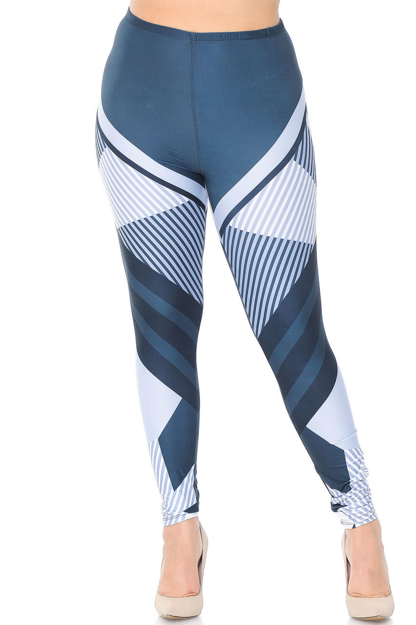 Front view of our mid rise Creamy Soft Contour Angles Plus Size Leggings - USA Fashion™ with an elastic comfort stretch waist.