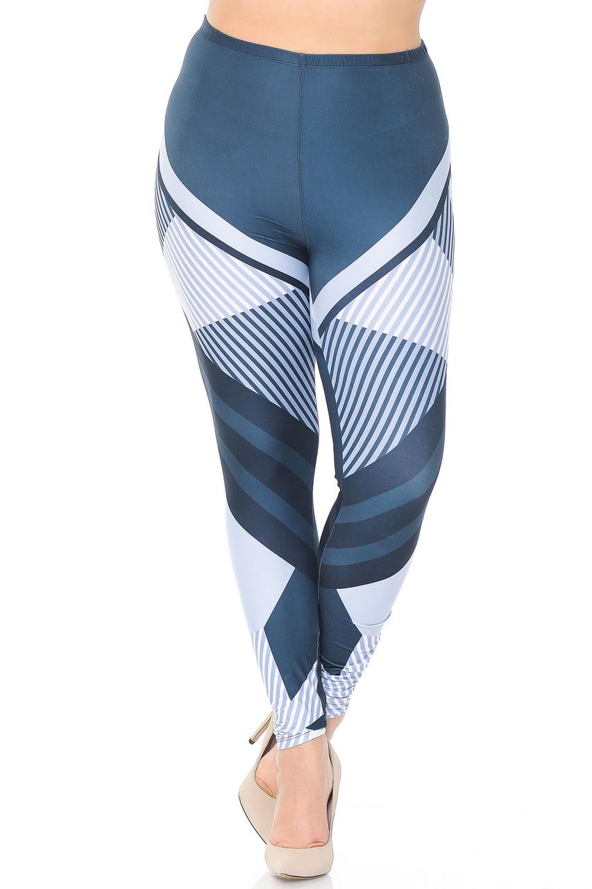 Front image of Creamy Soft Contour Angles Plus Size Leggings - USA Fashion™