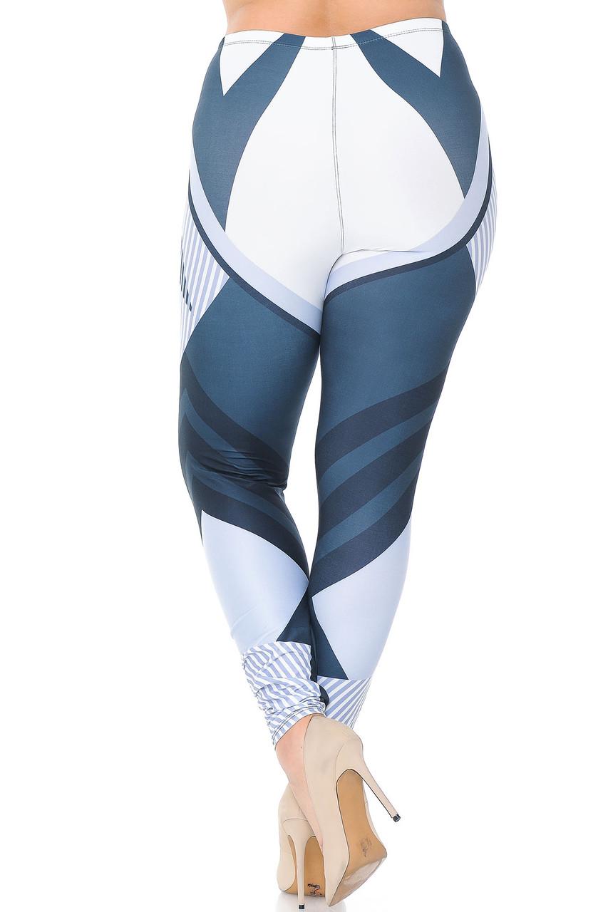 Back view of Creamy Soft Contour Angles Plus Size Leggings - USA Fashion™