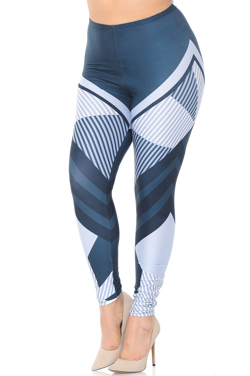Front view of Creamy Soft Contour Angles Extra Plus Size Leggings - 3X-5X - USA Fashion™ with a white, steel blue, and black design that features a multi directional paneled design that follows your body lines providing a flattering contouring effect.