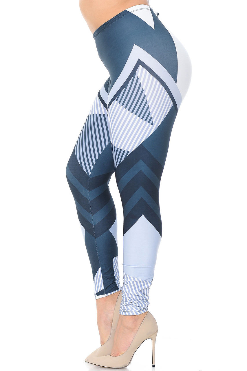 Left side view of Creamy Soft Contour Angles Extra Plus Size Leggings - 3X-5X - USA Fashion™