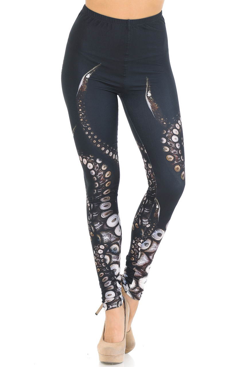 Front view image of mid rise Creamy Soft Tentacle Leggings - USA Fashion™ with an elastic stretch waistband.