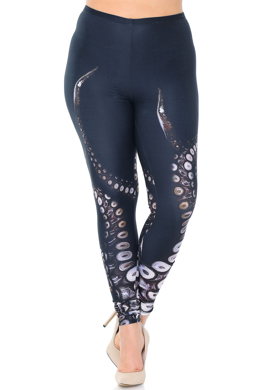 Front view image of mid rise Creamy Soft Tentacle Plus Size Leggings - USA Fashion™ with an elastic stretch waistband.