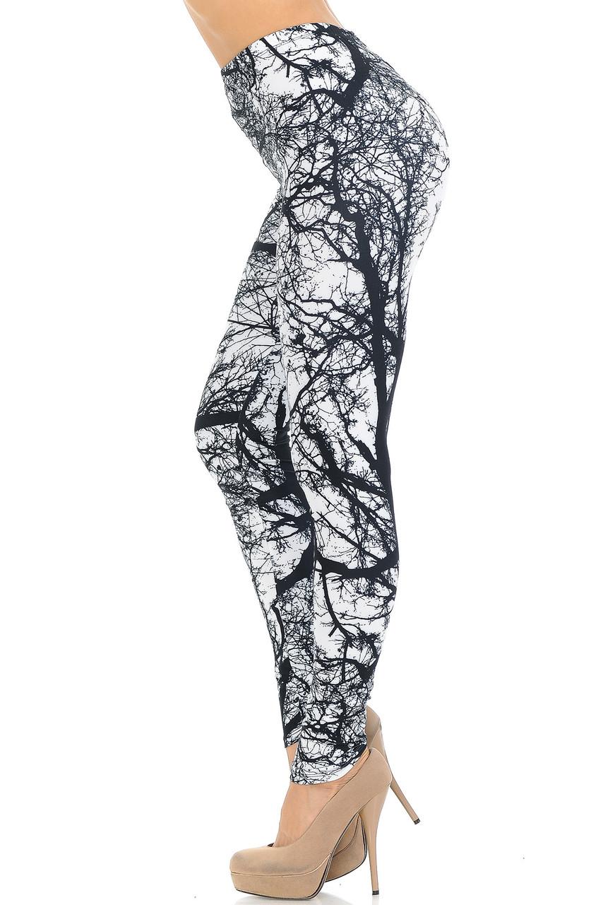 Left side view image of Creamy Soft Photo Negative Tree Extra Small Leggings - USA Fashion™