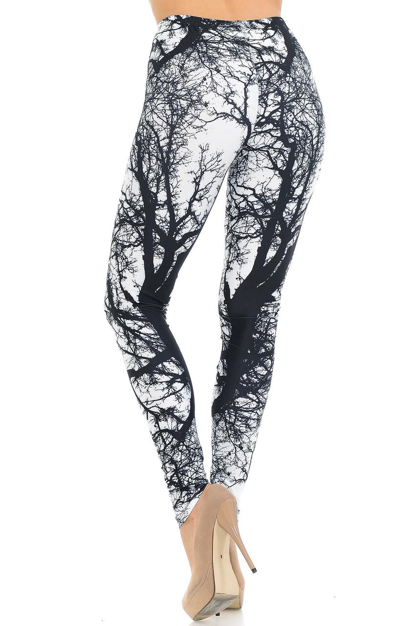 Back view image of Creamy Soft Photo Negative Tree Extra Small Leggings - USA Fashion™