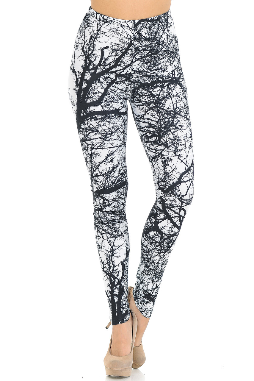 Front crossed foot image of Creamy Soft Photo Negative Tree Extra Small Leggings - USA Fashion™