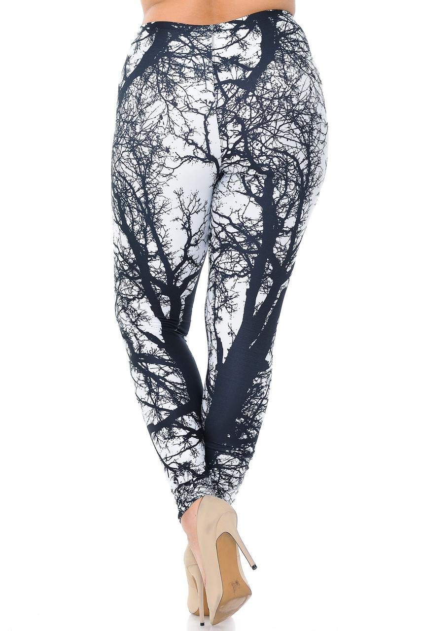 Back view image of Creamy Soft Photo Negative Tree Plus Size Leggings - USA Fashion™