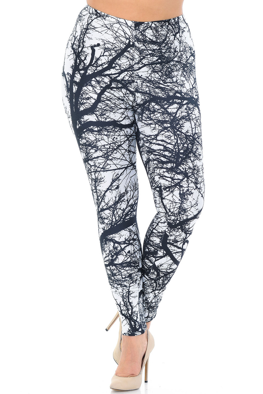 Front crossed foot image of Creamy Soft Photo Negative Tree Extra Plus Size Leggings - 3X-5X - USA Fashion™