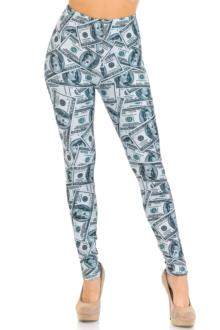 Front view image of our mid rise Creamy Soft Raining Money Extra Small Leggings -  USA Fashion™with an elastic stretch waistband.